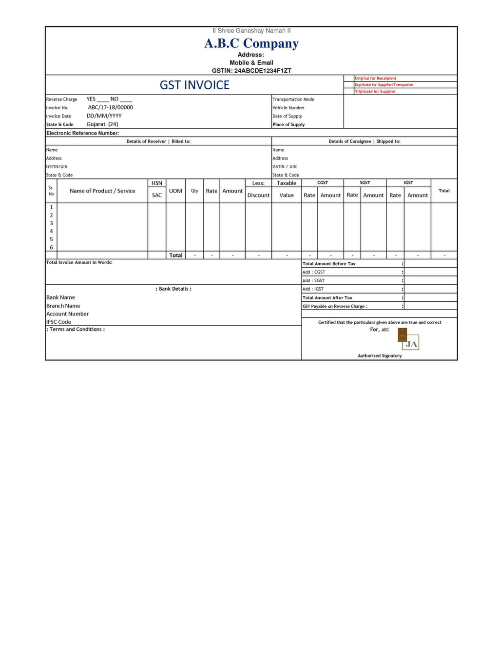 GST Invoice Format – Sample Invoice with Gst